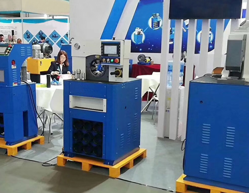 Supply hose crimping machine, tubing shrinking machine, joint pipe crimping machine, hose machinery